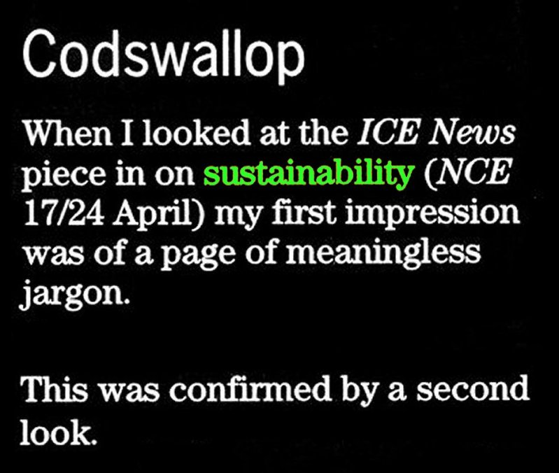 Sustainability codswallop NCE 2003 2
